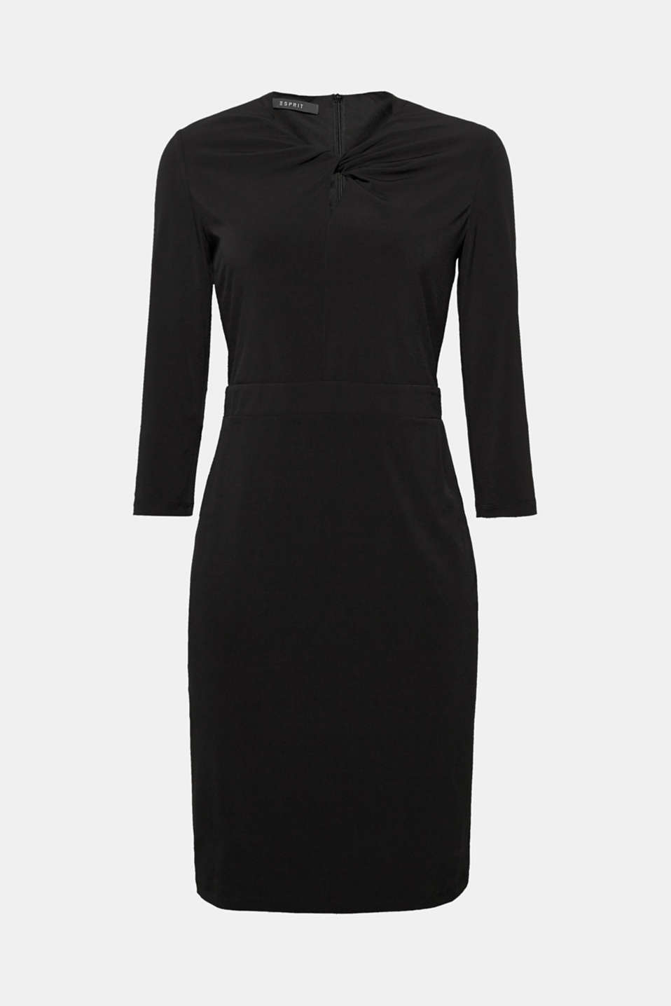 This stretch jersey shift dress featuring sophisticated draping at the neckline is unbelievably comfy!