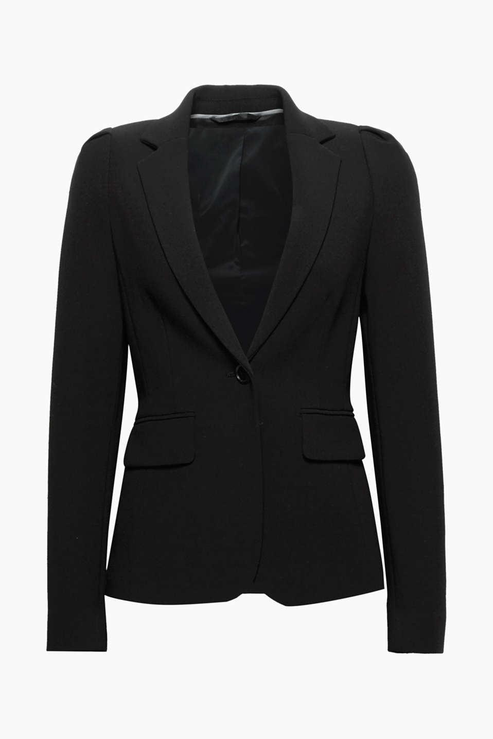 The long puff sleeves and fitted, 1-button cut give this stretch blazer its feminine flair!