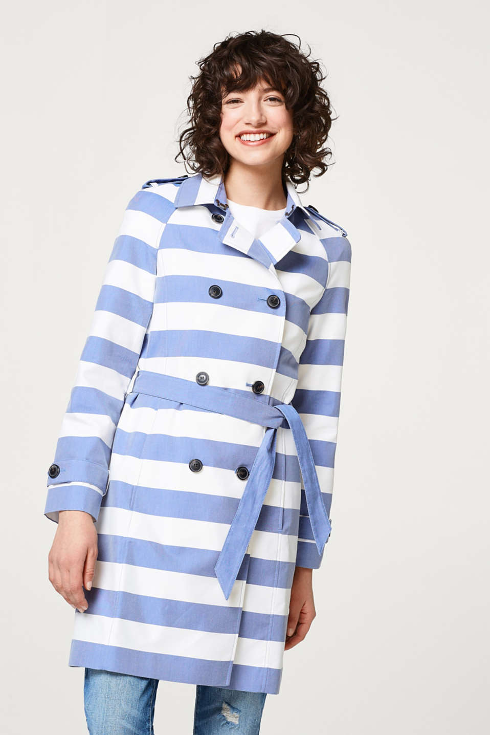 Esprit - Lightweight trench coat with block stripes