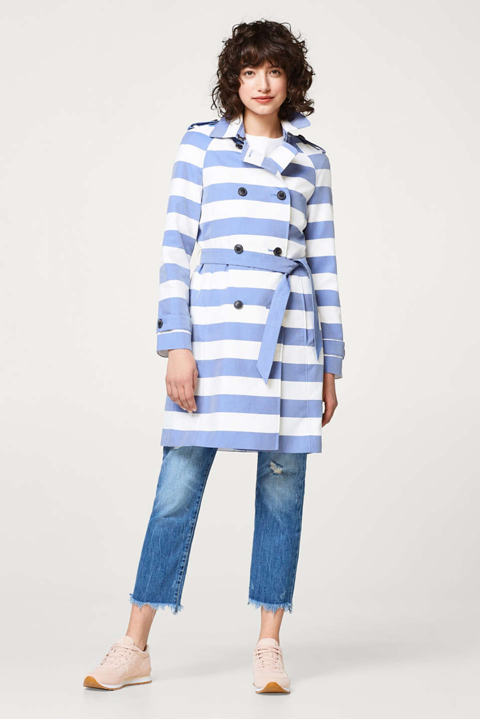 Lightweight trench coat with block stripes