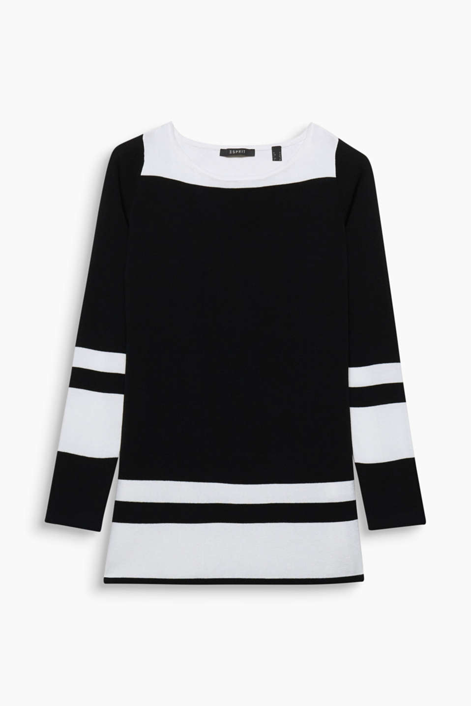 Colour block effects give a clean chic look to this jumper in compact yarn!