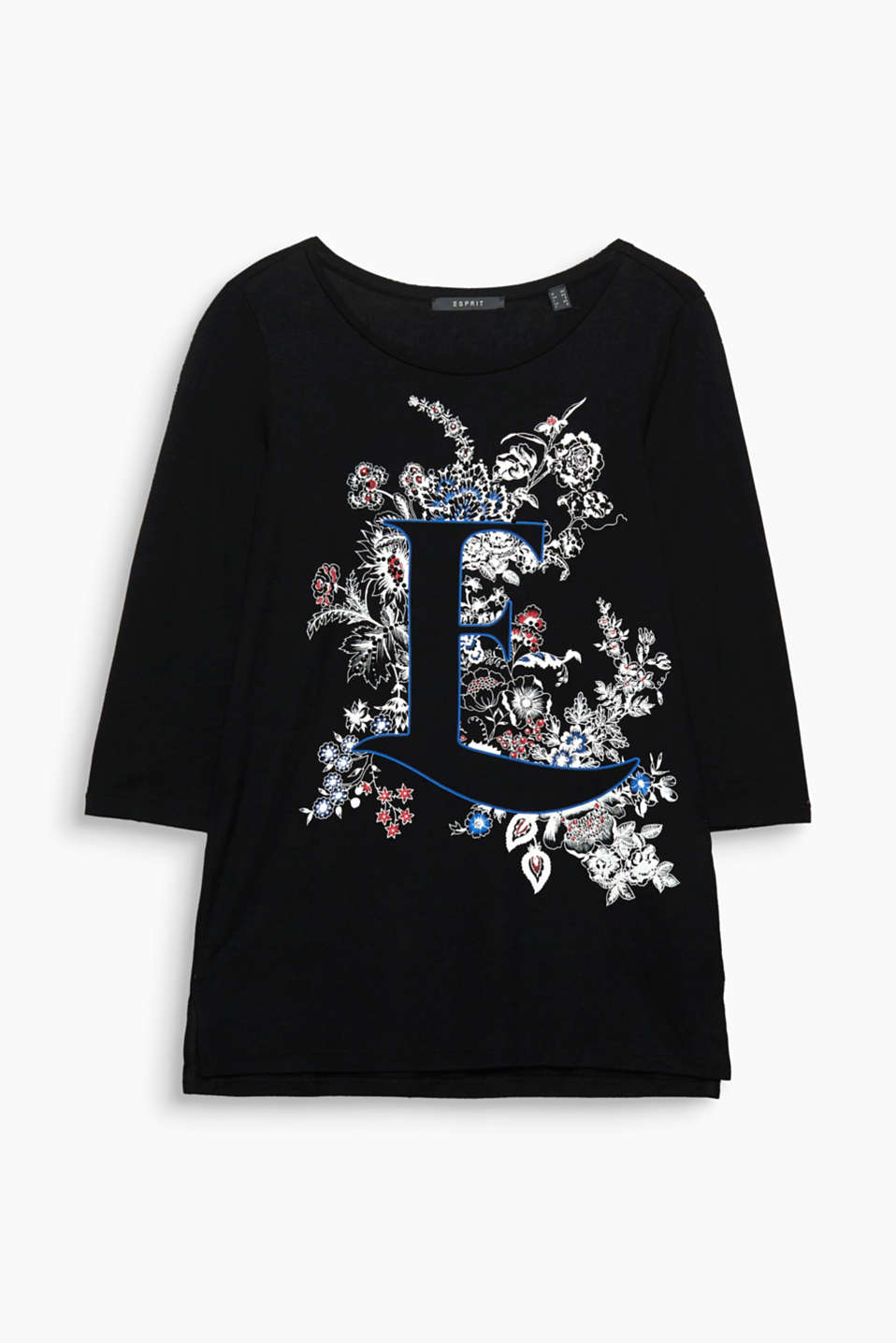 Logo with a twist: on this soft T-shirt, the characteristic E is framed by feminine floral tendrils!
