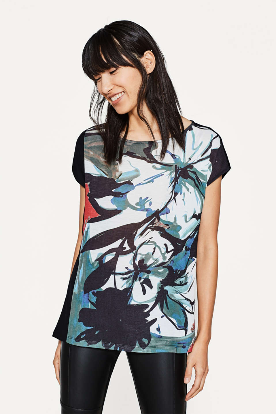 Esprit - Printed top in flowing blended fabric