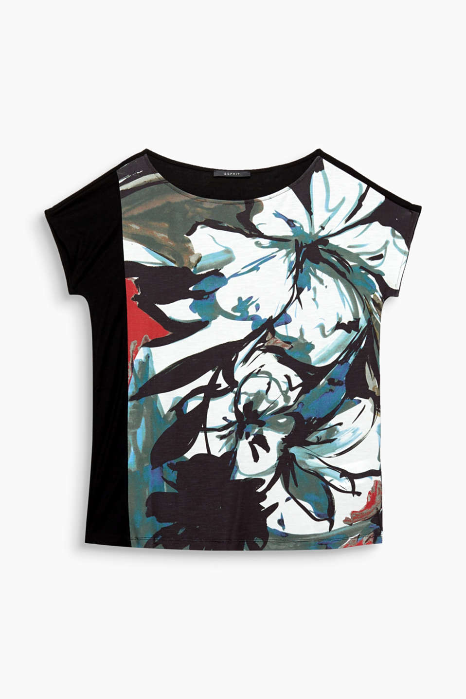 Flower power: The distinctive floral print on the piqué front section gives this loose-fitting top a modern feel!