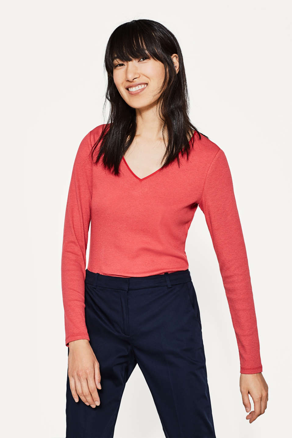 Esprit - Soft, stretch long sleeve top with a V-neck