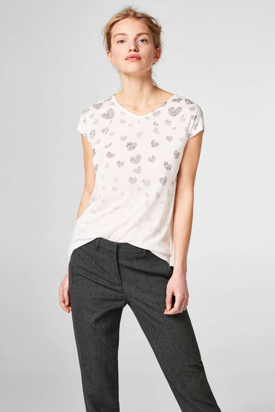 Esprit - Flowing tee with a glittering foil print