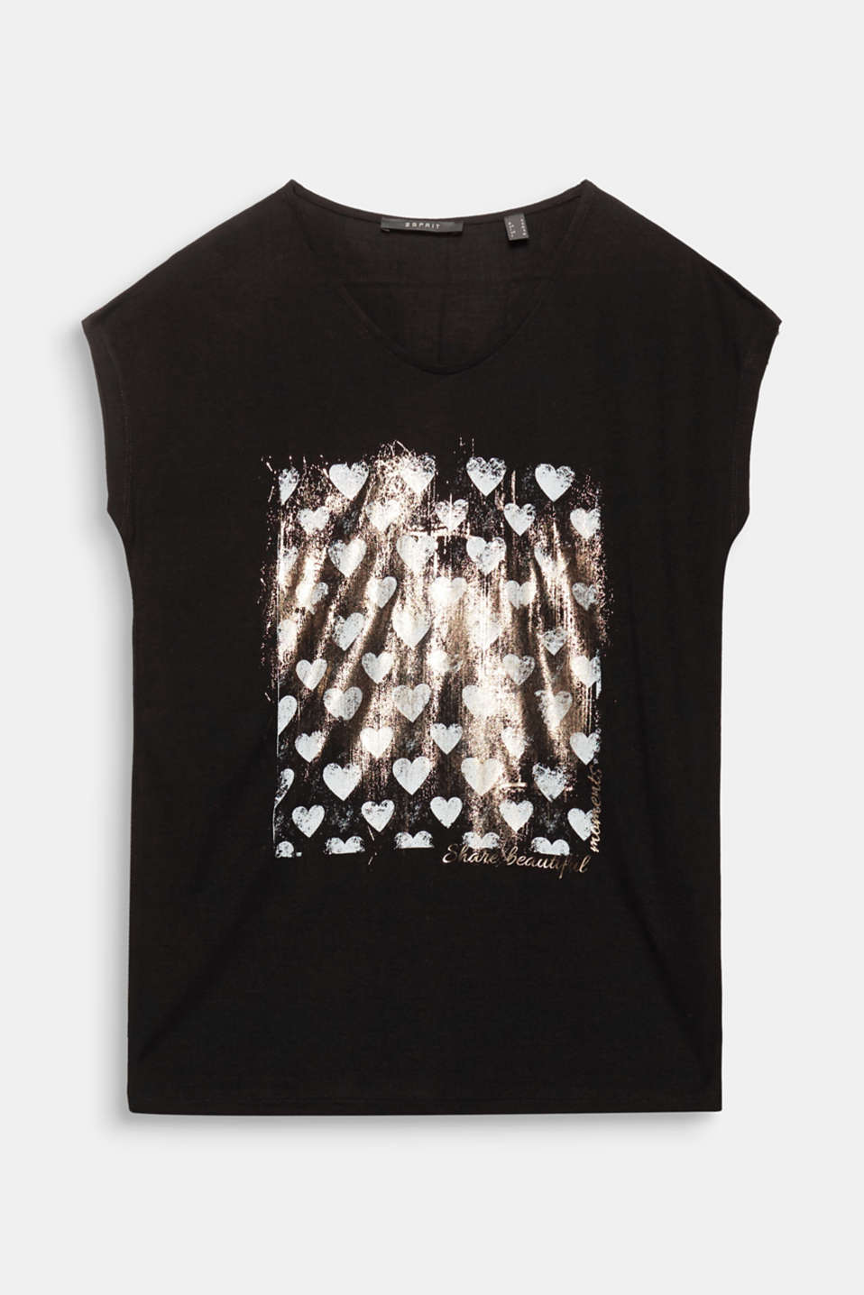 Not just perfect for the Feast of Saint Valentine: flowing V-neck top with a shiny foil heart print!