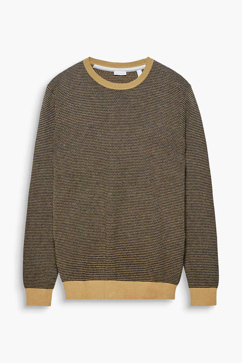 The two-tone jacquard pattern with a fine honeycomb texture gives this soft jumper its new look!