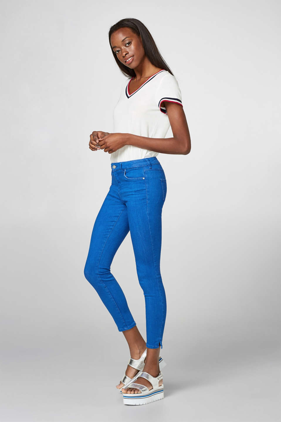 Esprit - Fashionably cropped stretch jeans