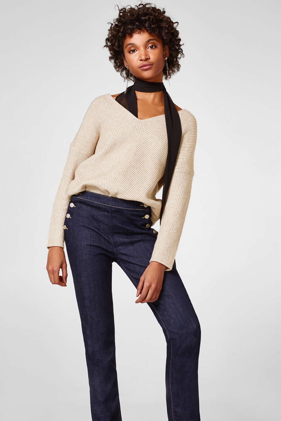 Esprit - Stretch denim with striking button details