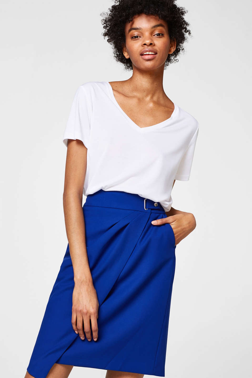 Esprit - Pencil skirt with a wrap-over effect