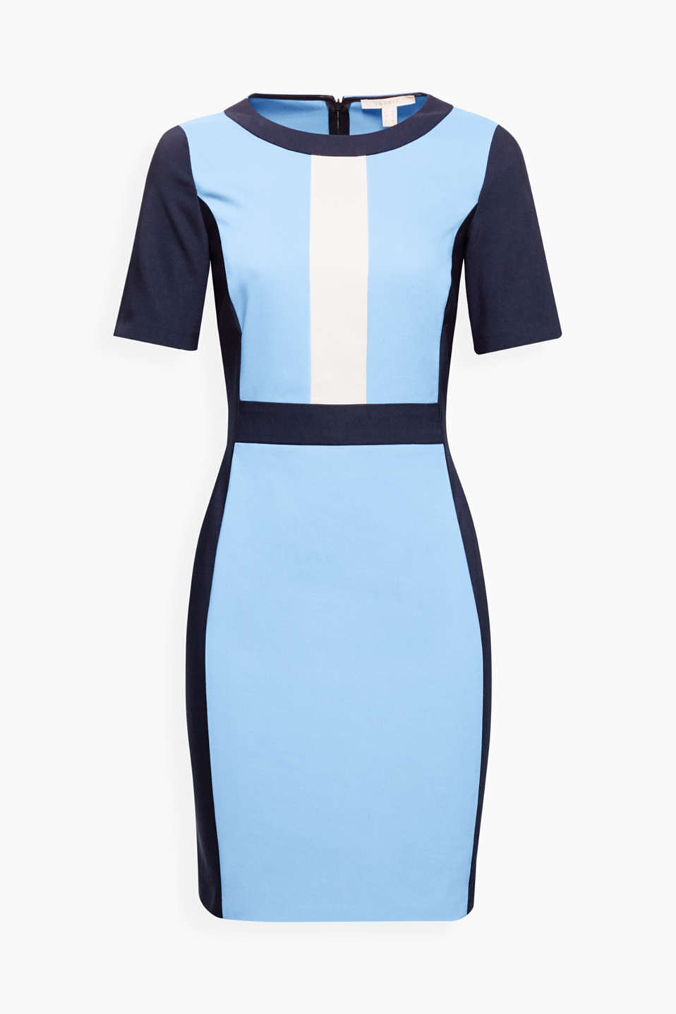 This figure-hugging stretch dress with trendy colour blocking stands out with its graphic sophistication.