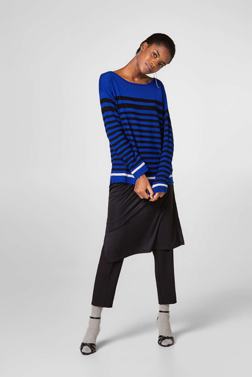 Jumper with textured stripes