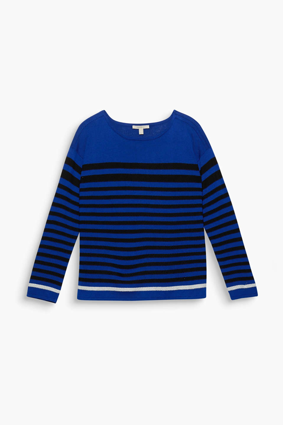 The textured striped pattern give this figure-skimming fine knit jumper its attractive look.
