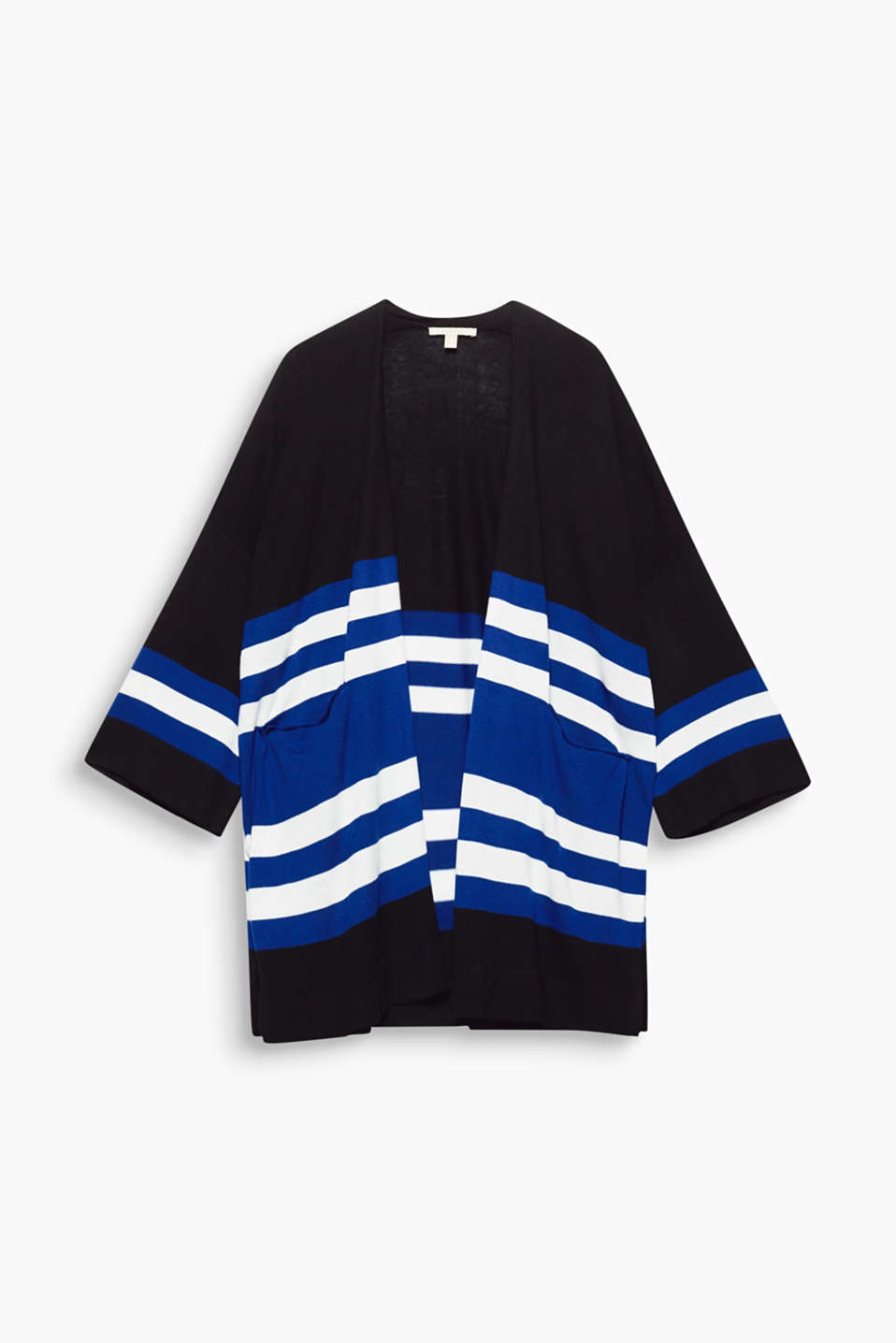 This cardigan combines two trends with a casual oversized silhouette and geometric block stripes.