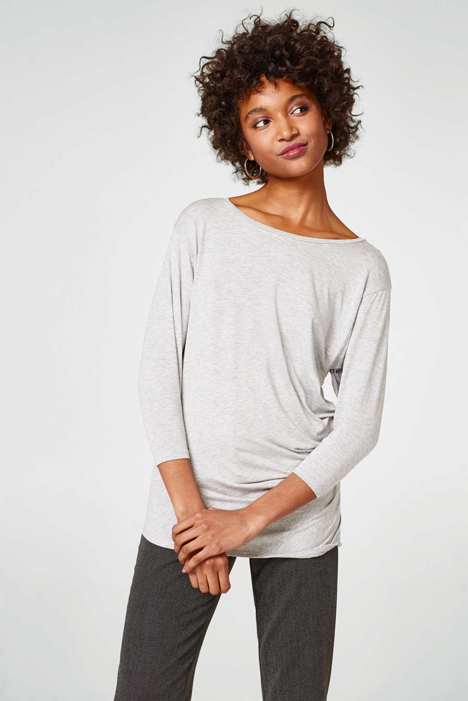 Esprit - Long sleeve top with feminine gathering