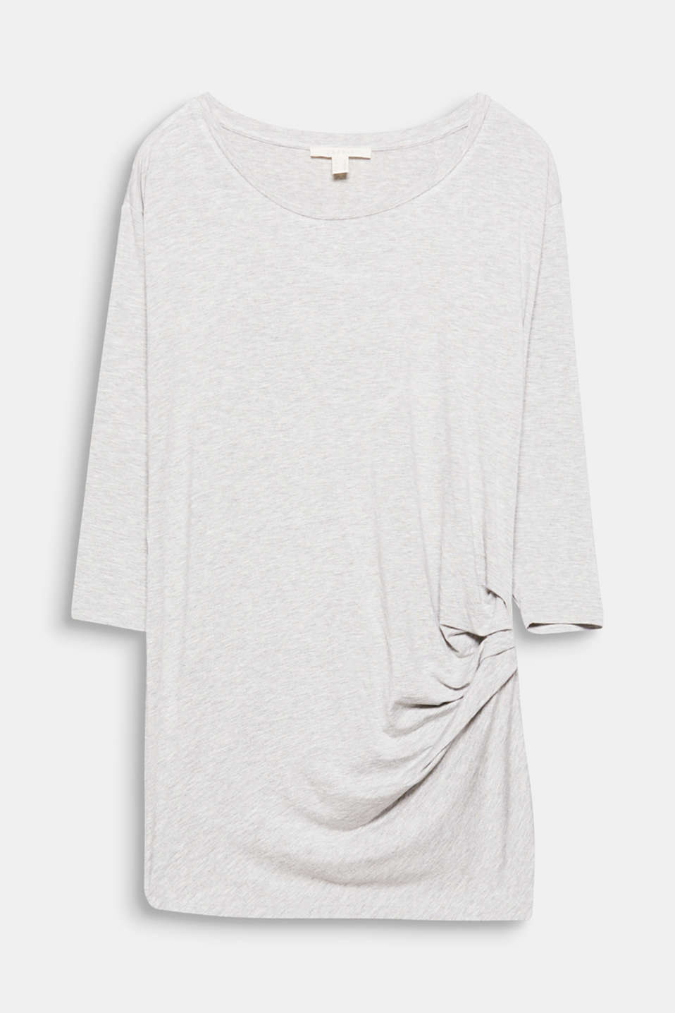 An update for a fashion basic! Feminine gathering embellished this lightweight long sleeve top.