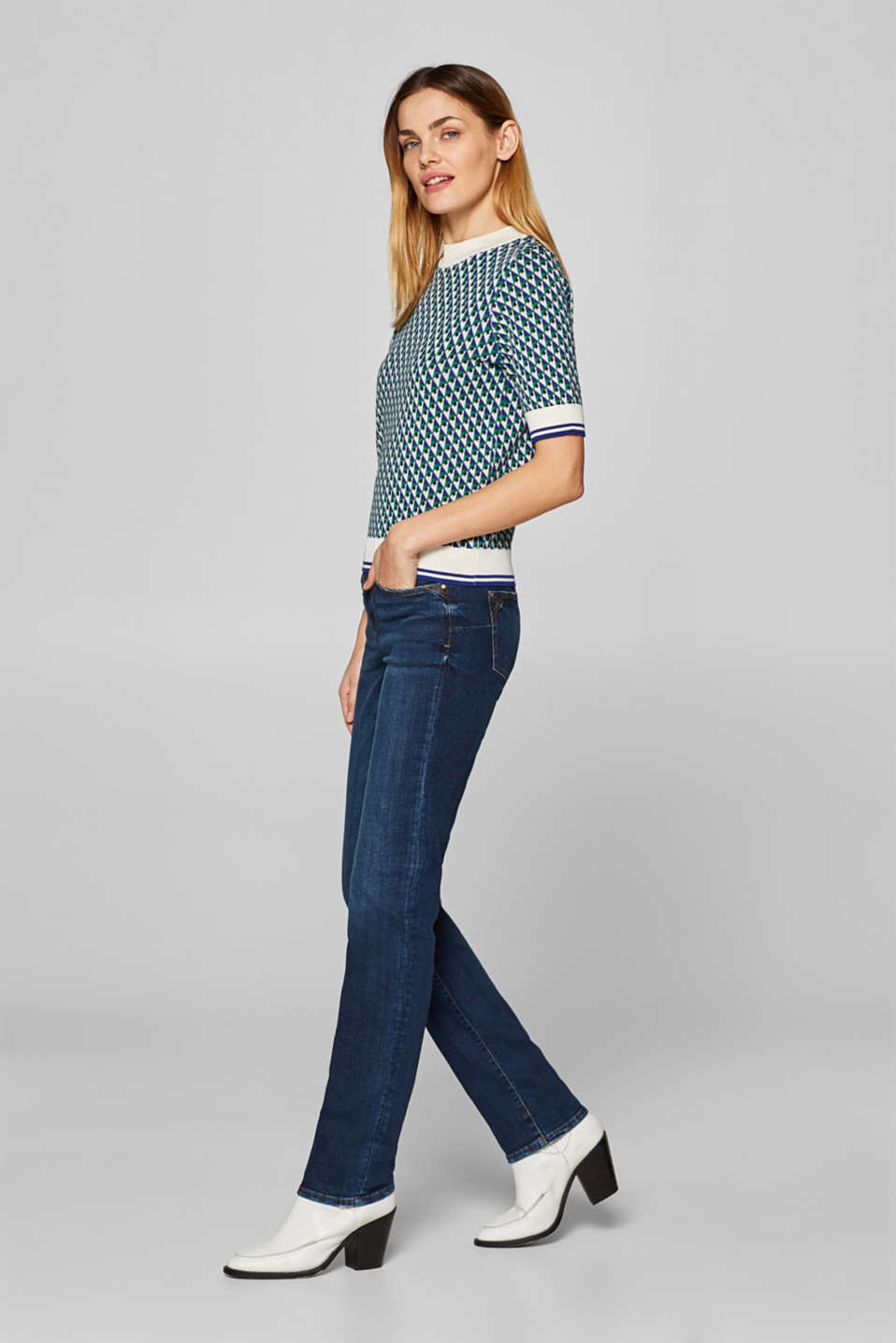 edc - Stretch-Jeans mit Wrinkle- und Used-Effekten