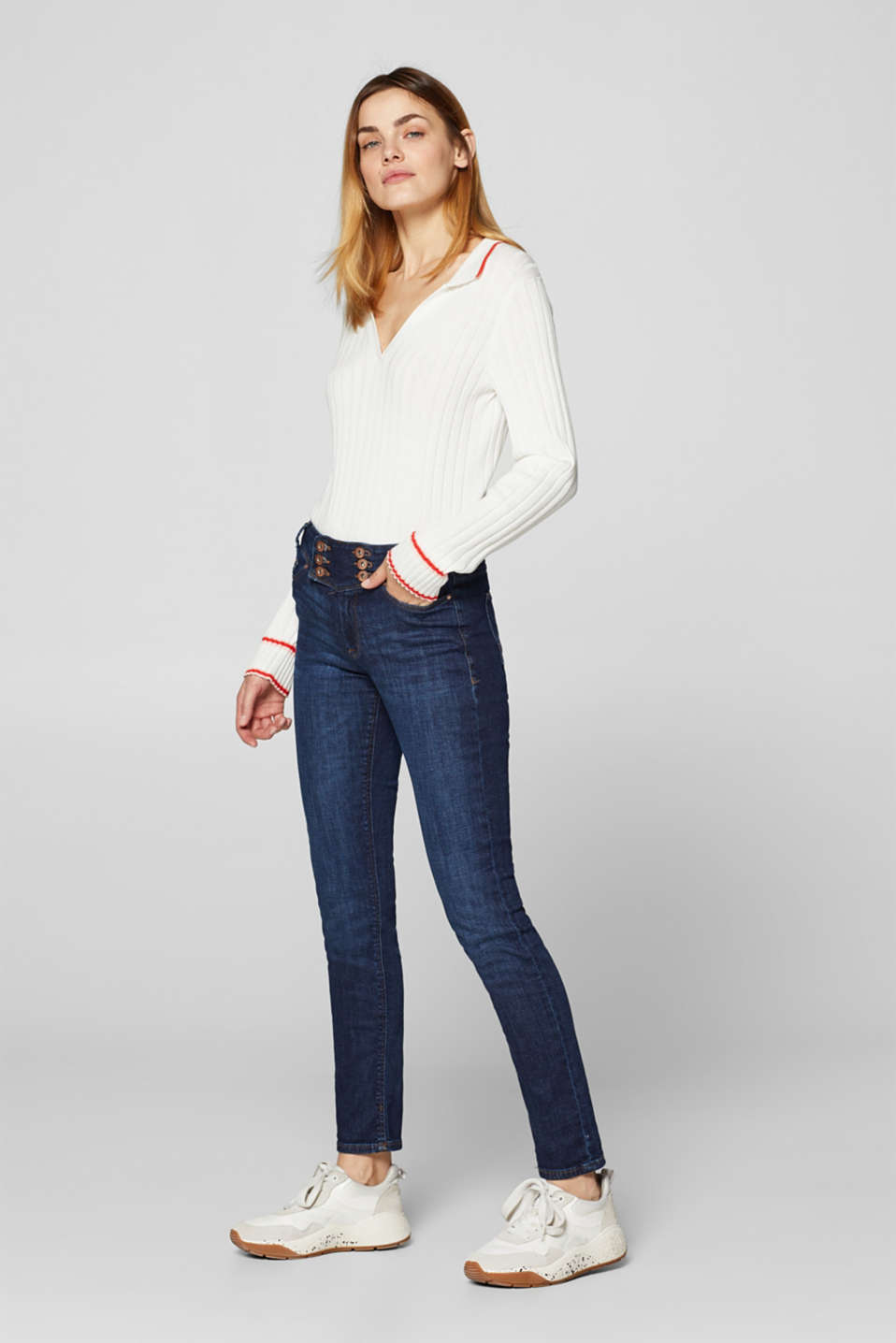 edc - Stretch jeans with button plackets