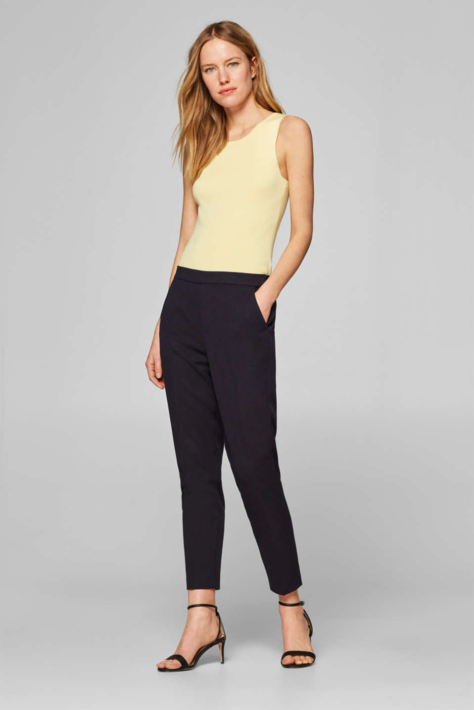 edc - Textured stretch trousers with an elasticated waistband