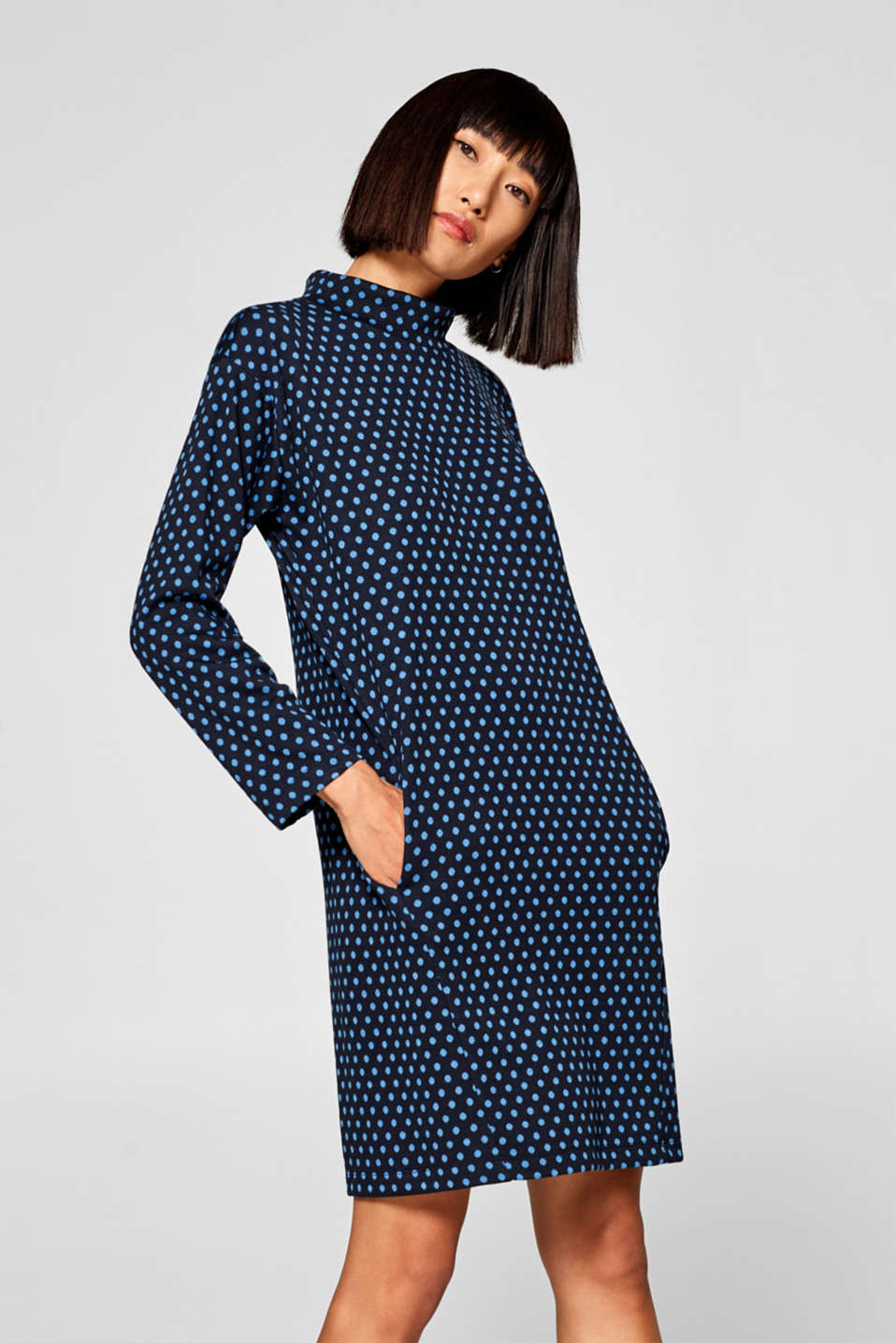 edc - Oversized jersey dress with polka dots and a stand-up collar