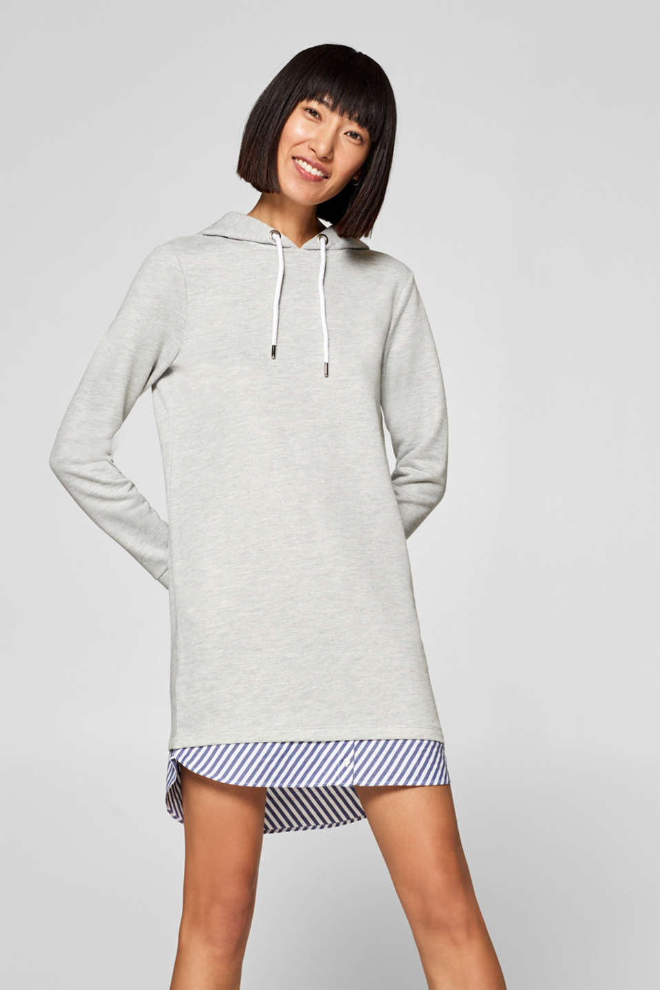 edc - Hoodie-Sweatkleid im Layer-Look