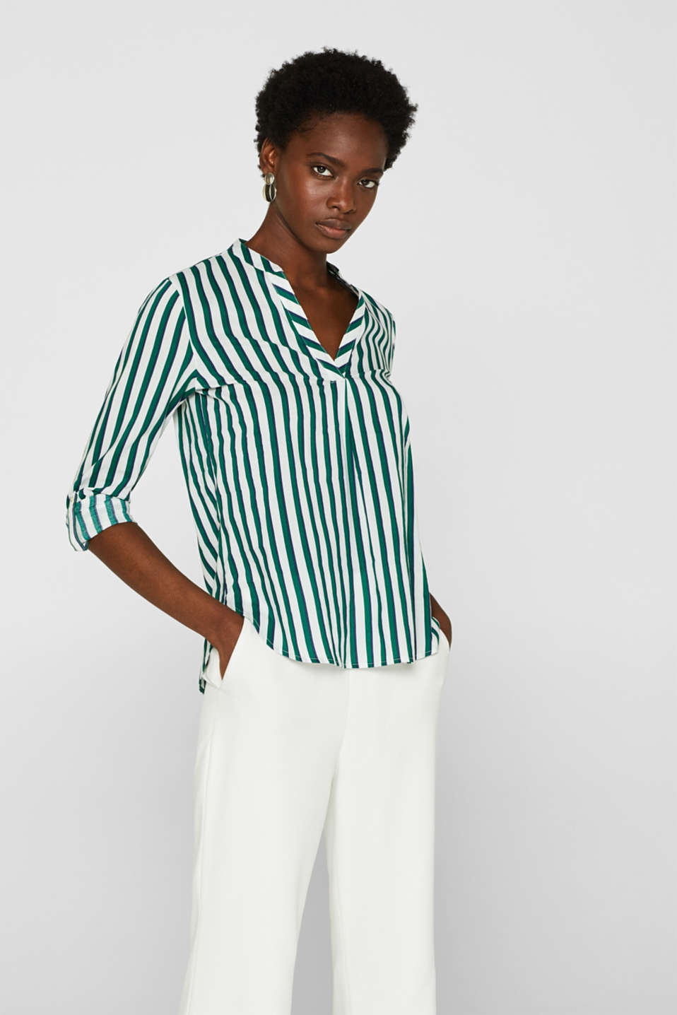 edc - Striped Henley blouse with turn-up sleeves