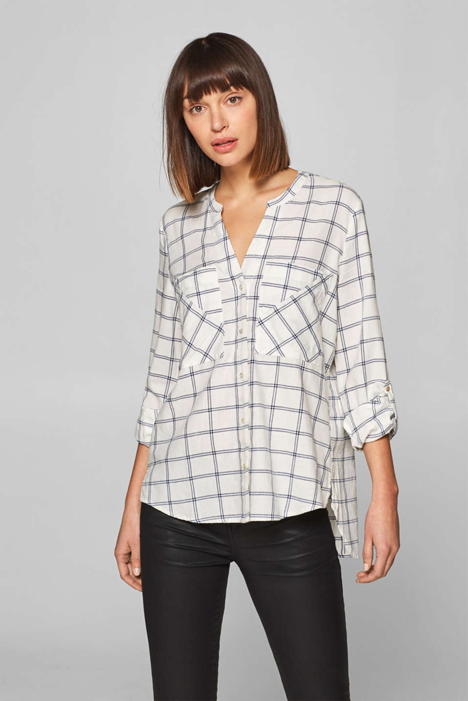 edc - Henley-style twill blouse, 100% cotton