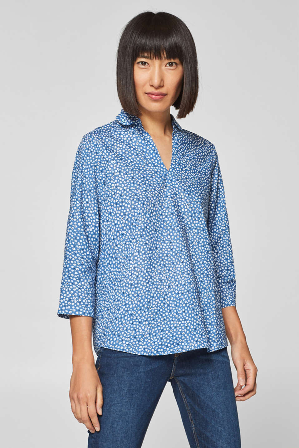 edc - Blouse with a floral print, 100% cotton