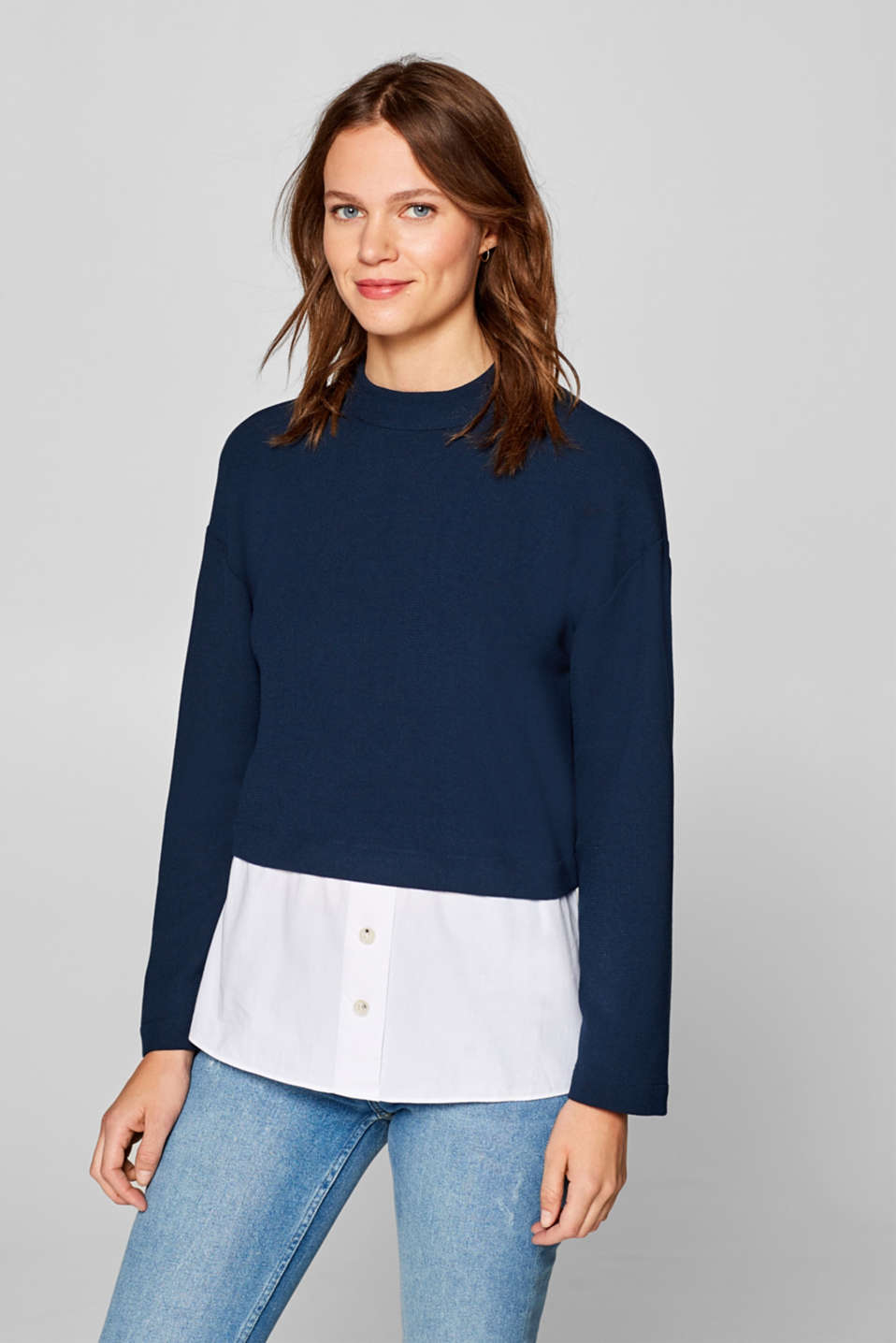 edc - Textured long sleeve top with cloth hem