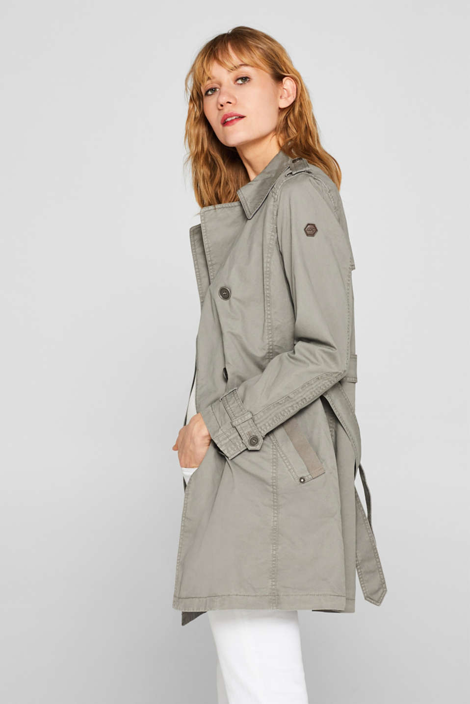 edc - Trench coat in garment washed cotton