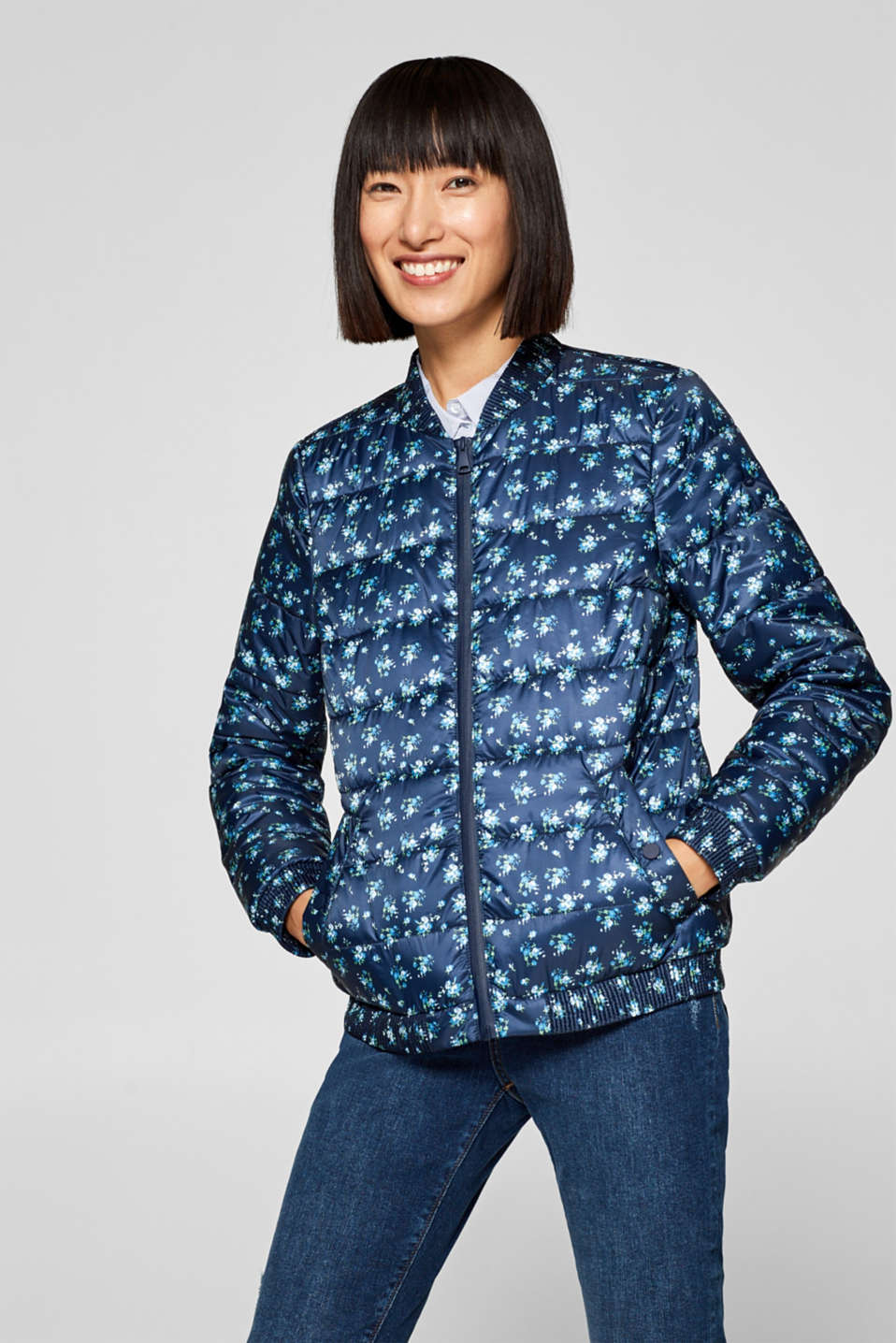 edc - Quilted bomber jacket with a floral print