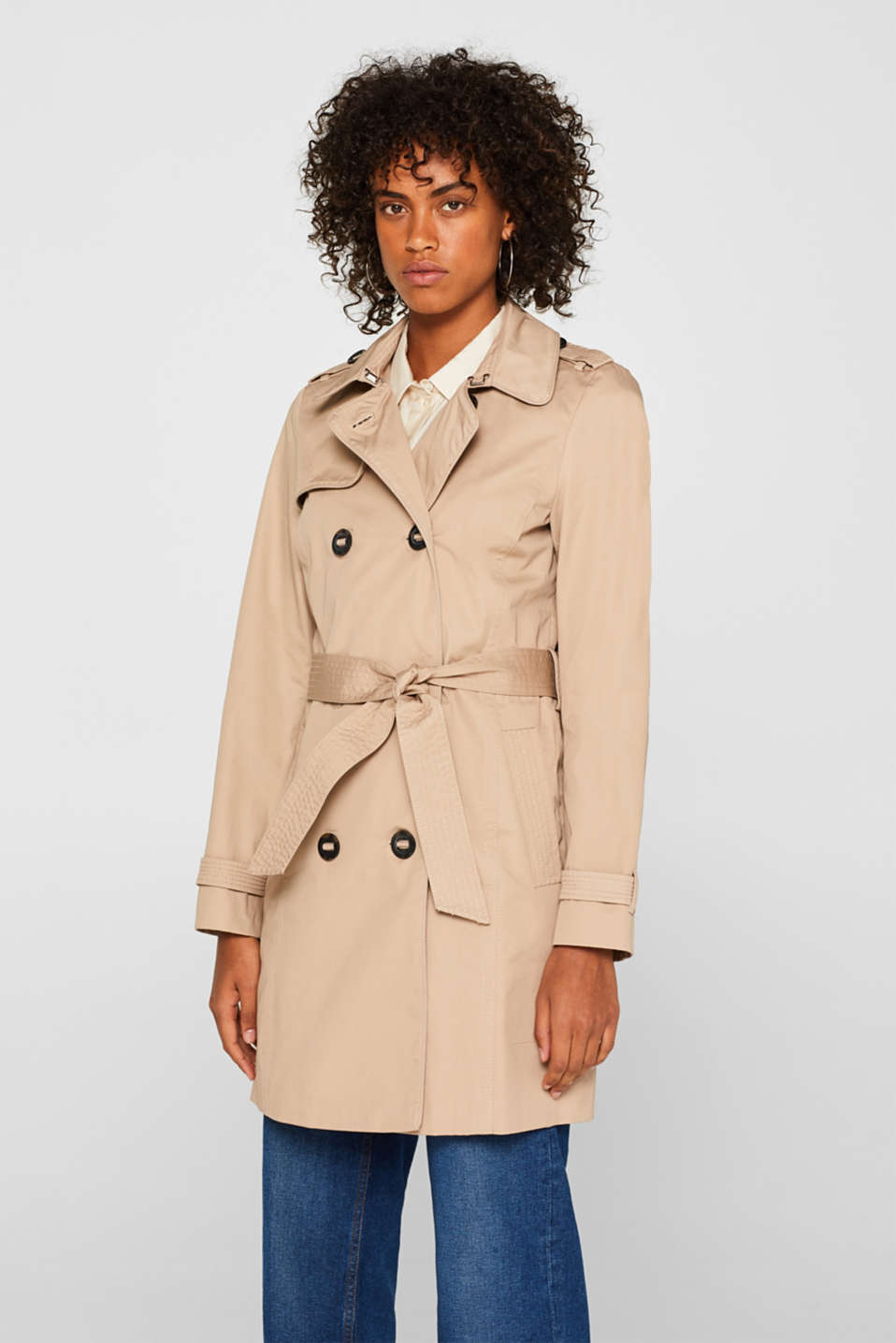 edc - Shimmering trench coat with tie-around belt