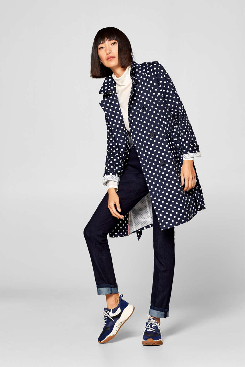 edc - Cotton trench coat with a polka dot pattern