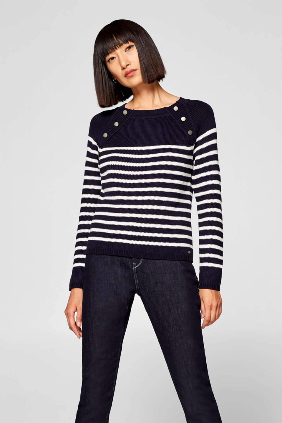 edc - Striped jumper in chunky knit yarn with decorative buttons