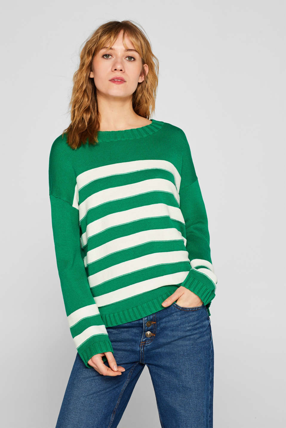 edc - Cotton blend jumper with textured stripes
