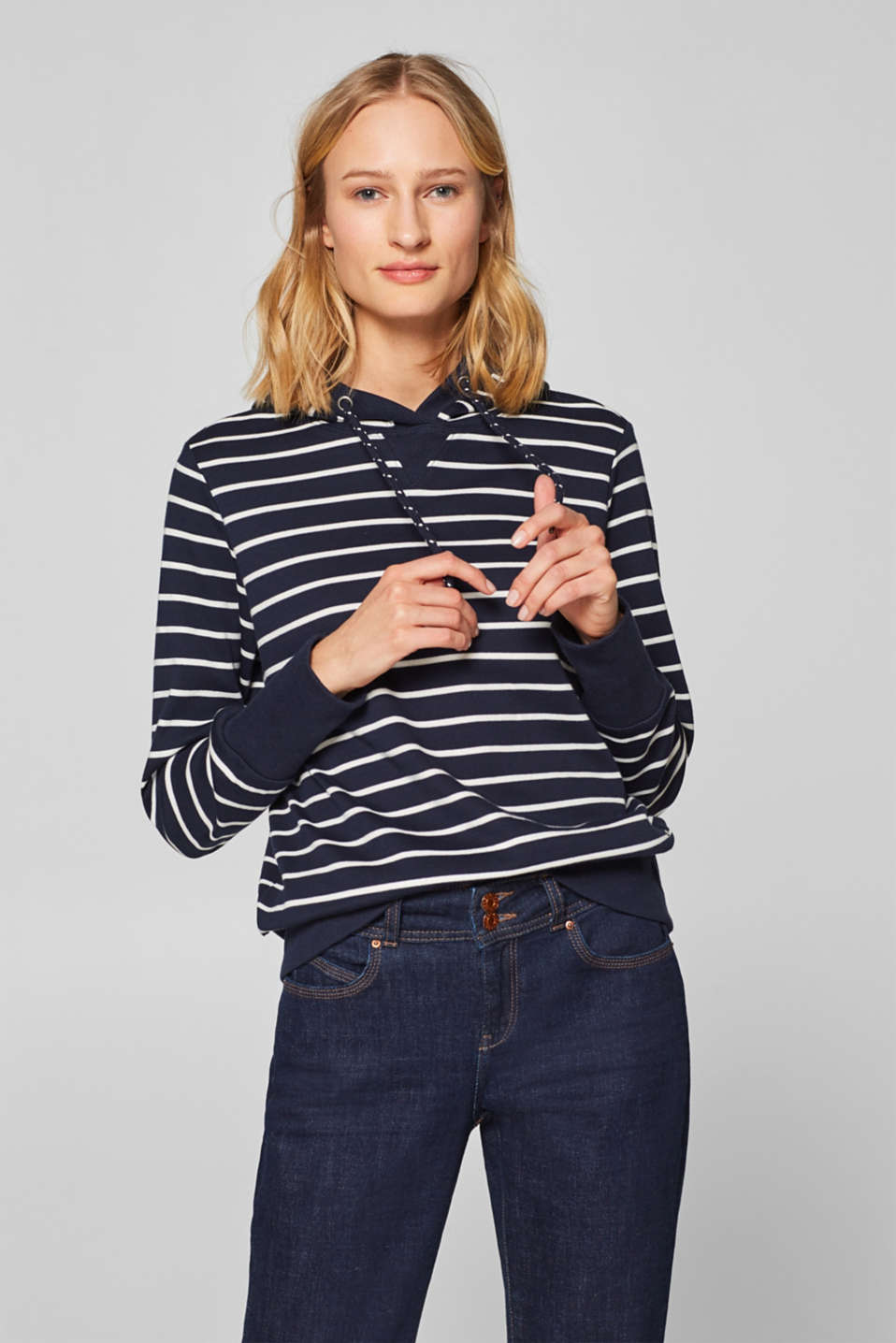 edc - Plain or striped: Hoodie in 100% cotton
