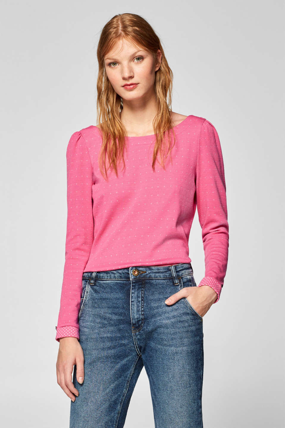 edc - Stretch long sleeve top with gathered sleeves
