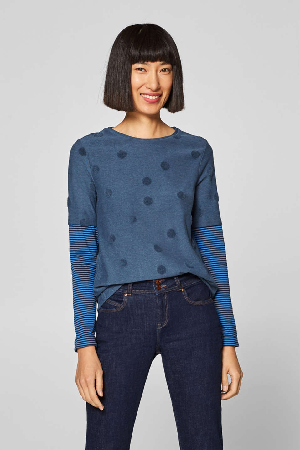 edc - Melange long sleeve top with layered sleeves