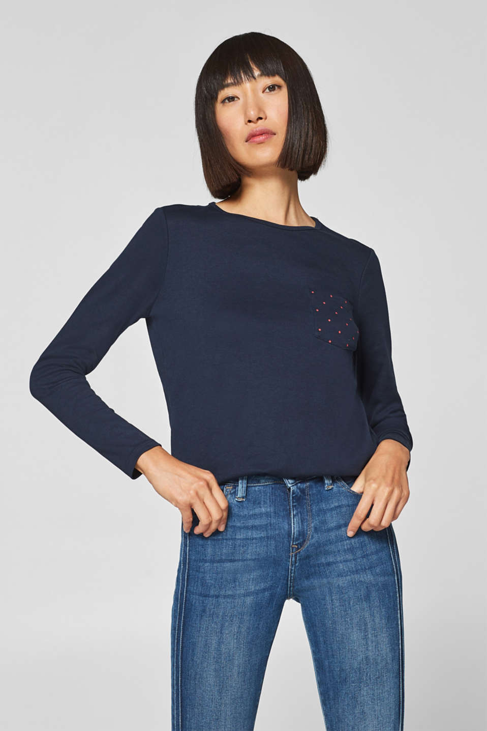 edc - Long sleeve top with pocket, organic cotton