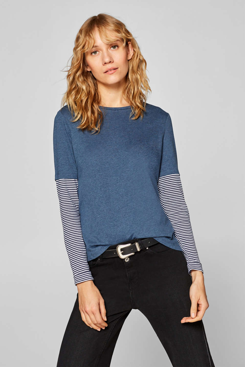 edc - Layered long sleeve top with striped sleeves