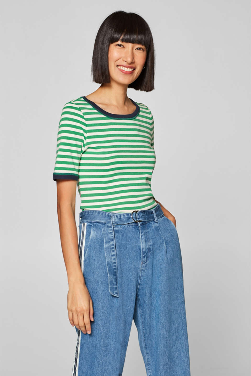 edc - Striped top with contrasting trims
