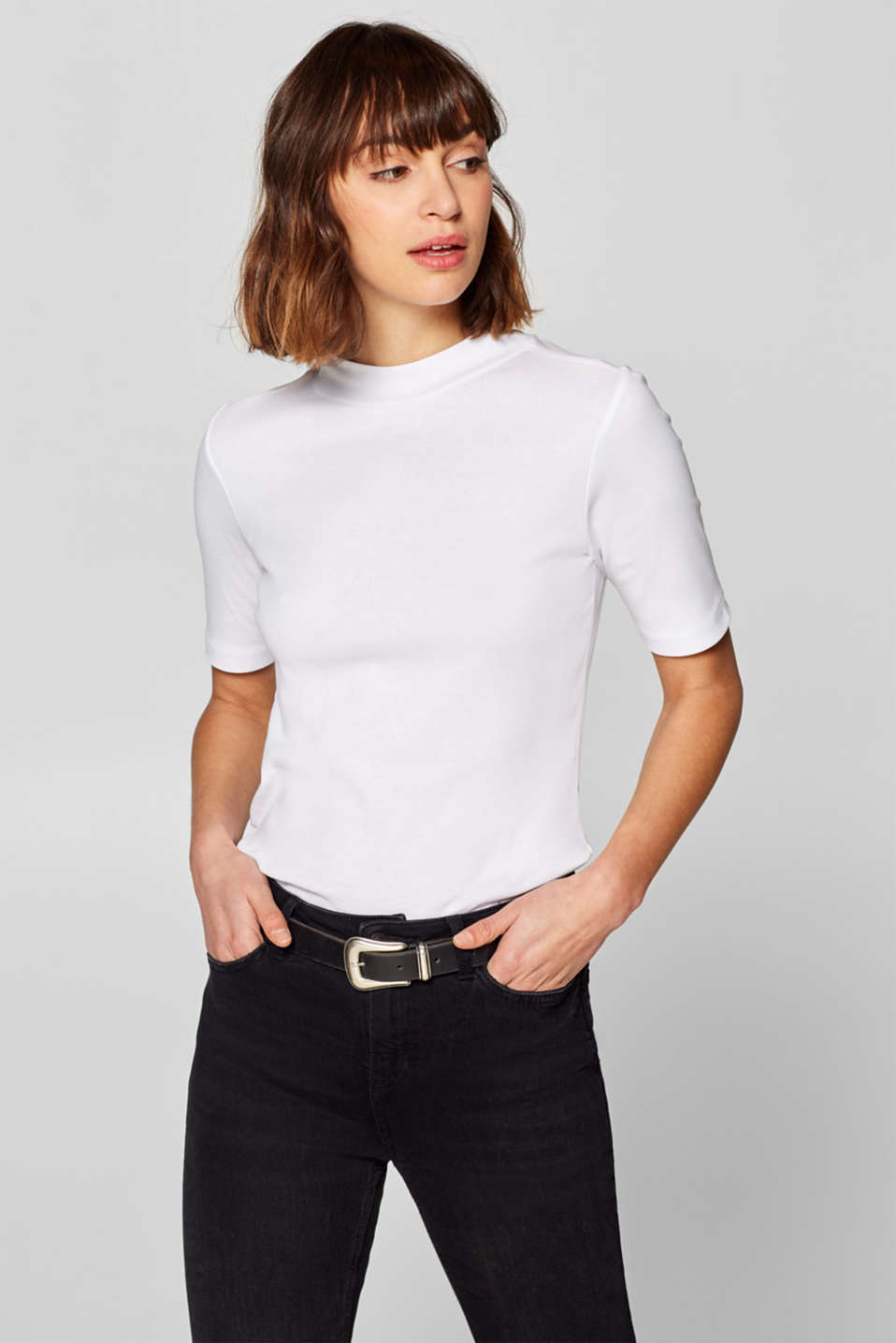 edc - T-shirt with a stand-up collar, 100% cotton
