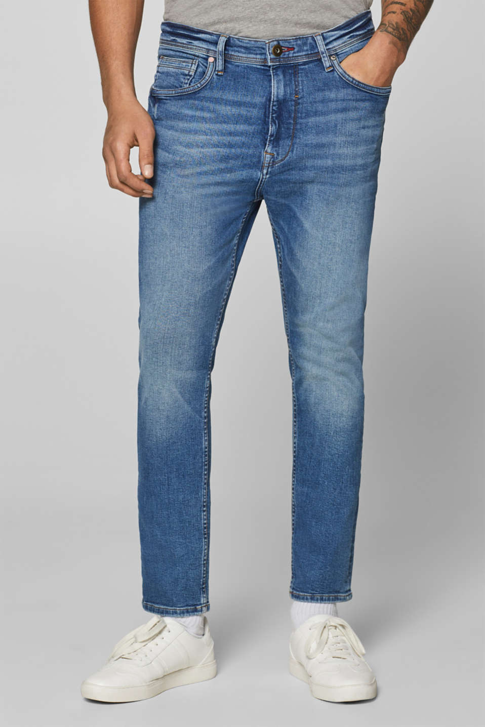 edc - Stretchjeans met stone wash
