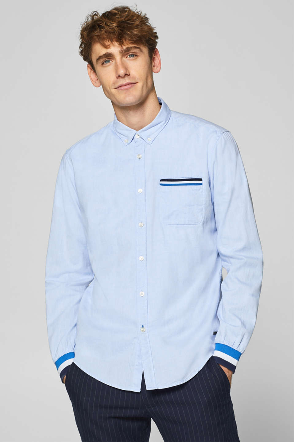 edc - 100% cotton shirt with a striped border