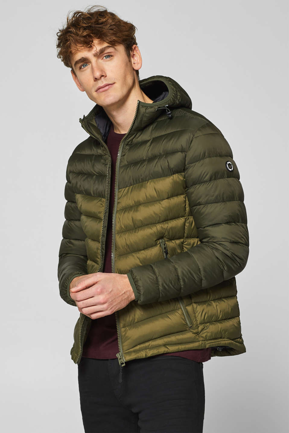edc - Quilted jacket with a hood, made of nylon