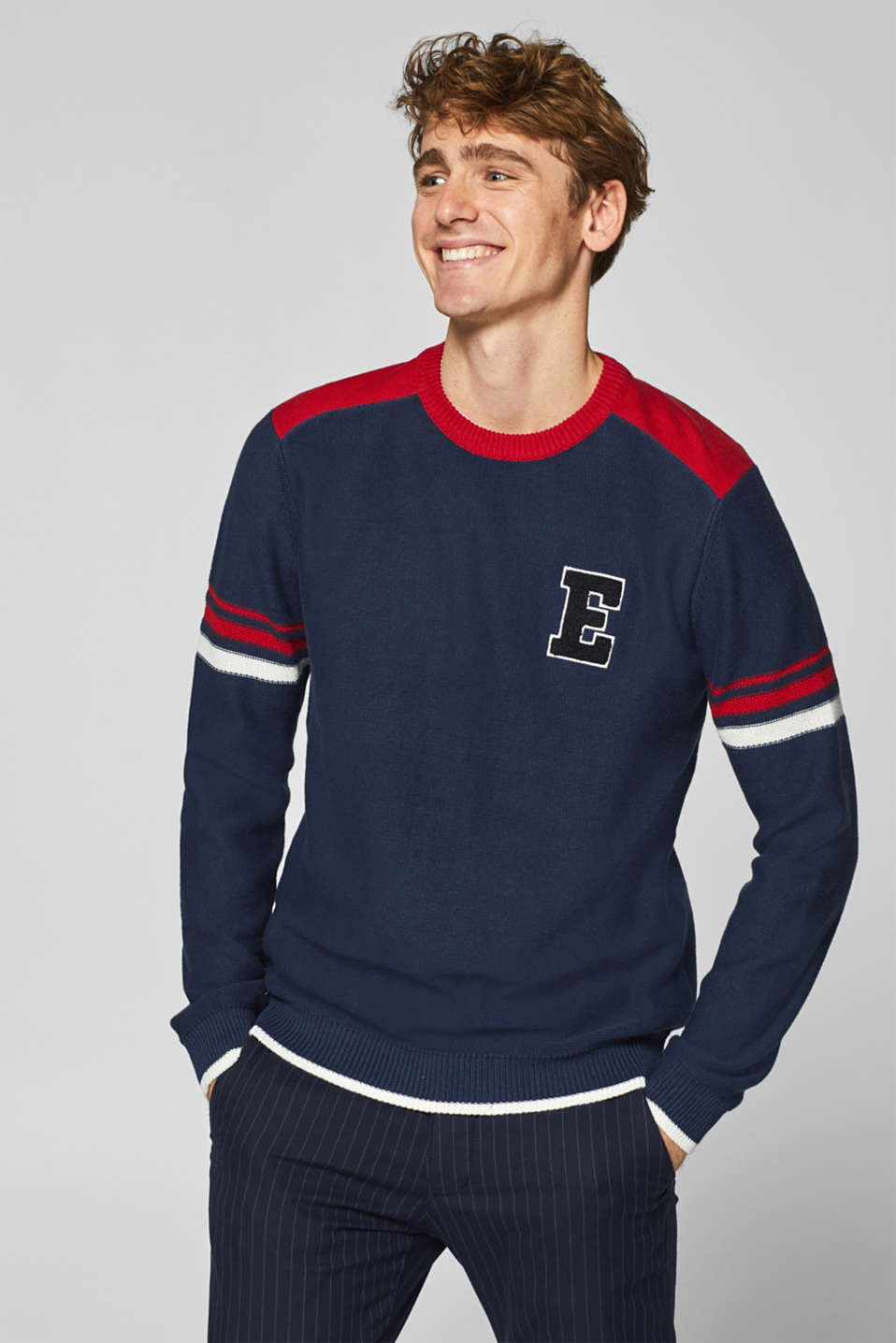edc - Jumper with letter, 100% cotton