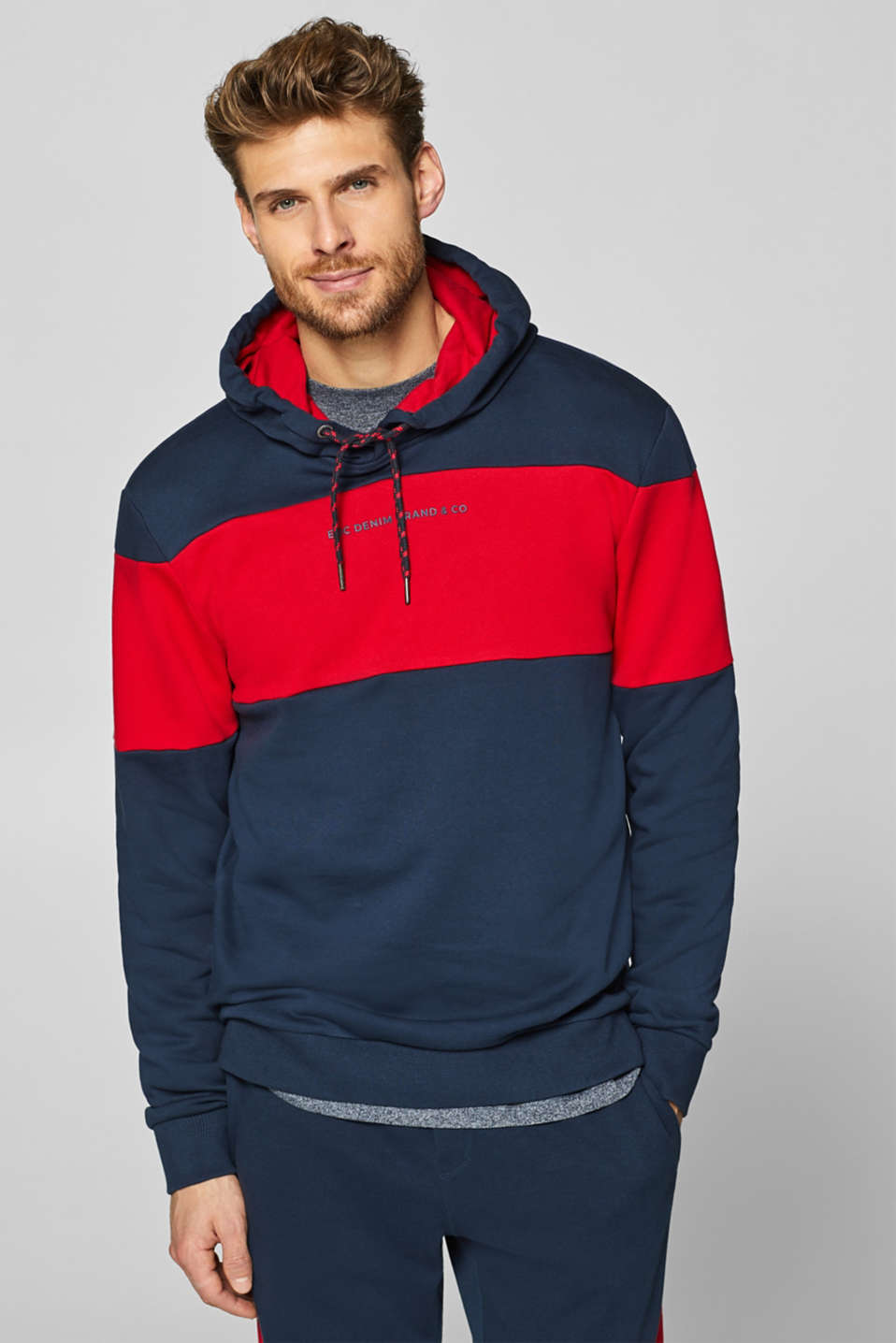 edc - Hoodie with block stripes, 100% cotton