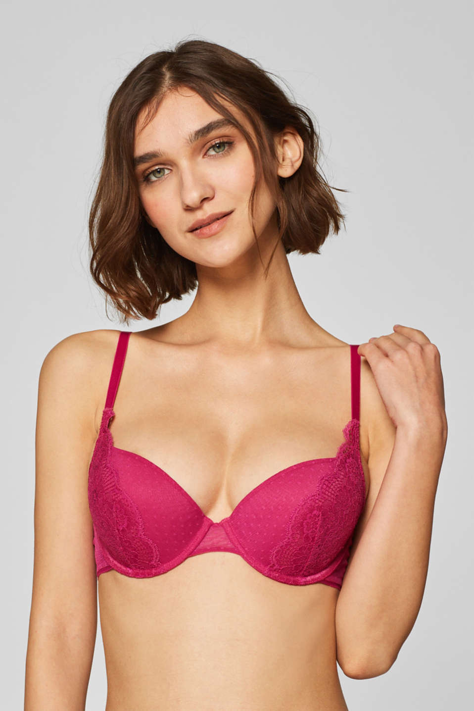 edc - Lace and mesh push-up bra