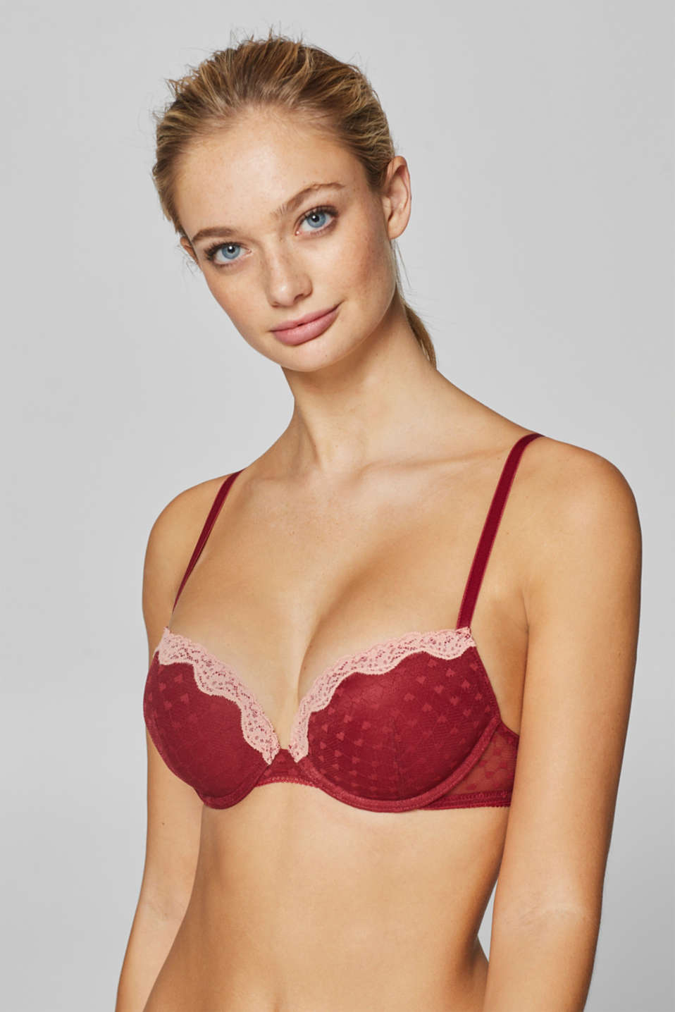 edc - Two-tone push-up bra in mesh and lace